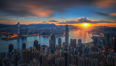 Sunrise Over Victoria Harbor As Viewed Atop Victoria Peak Poster by Anek Suwannaphoom