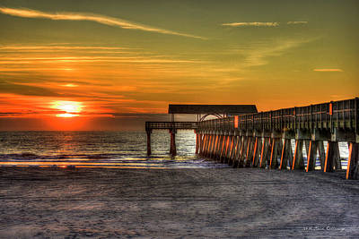 Sunrise Reflections Tybee Island Pier Art Poster by Reid Callaway