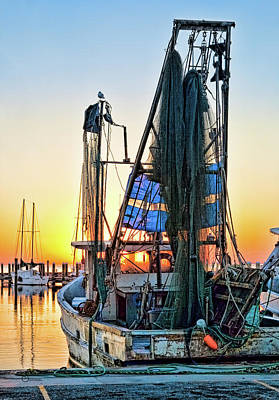 Sunrise Shrimpboat Poster by Sally Mitchell