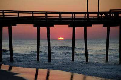 Sunrise Through The 32nd Street Pier Avalon New Jersey Poster by Bill Cannon
