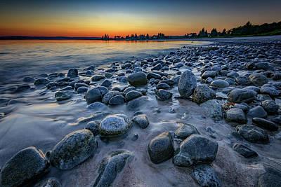 Sunset At Pemaquid Beach Poster by Rick Berk