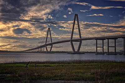 Sunset At Ravenel Bridge Poster by Rick Berk