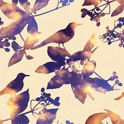 Sunset Birds Poster by Varpu Kronholm