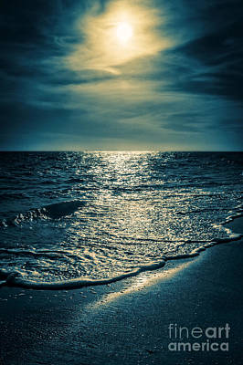 Sunset Bowman Beach Sanibel Florida Poster by Edward Fielding