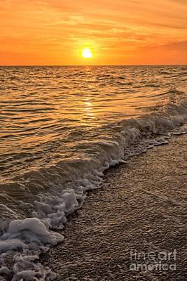 Sunset Bowman Beach Sanibel Island Florida  Poster by Edward Fielding