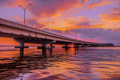 Sunset Bridge Poster by Michael Frizzell
