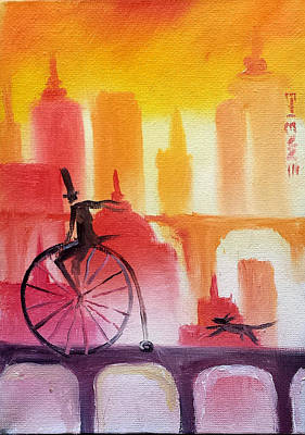 Sunset City Cycle Poster by Jason Etienne