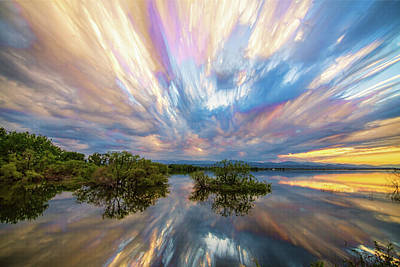 Sunset  Lake Reflections Timed Stack Poster by James BO Insogna