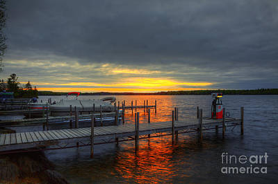 Sunset Lake Vermillion Minnesota Poster by Wayne Moran