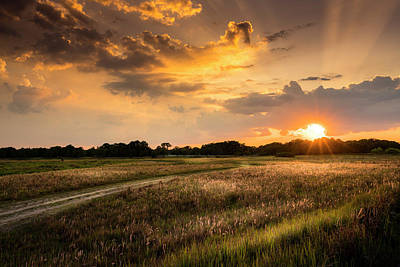 Sunset Meadow Poster by Marvin Spates