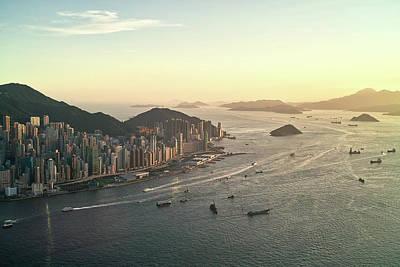 Sunset Of Hong Kong Victoria Harbor Poster by Jimmy LL Tsang