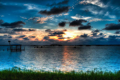 Sunset On Cedar Key Poster by Rich Leighton