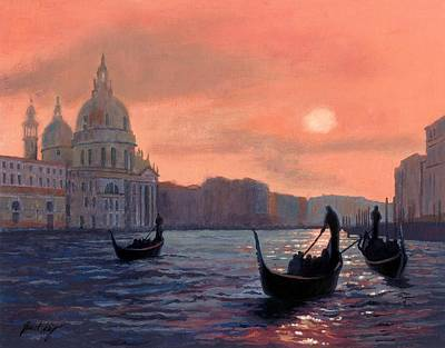 Sunset On The Grand Canal In Venice Poster by Janet King
