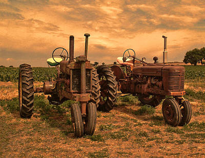 Sunset On The Tractors Poster by Ken Smith