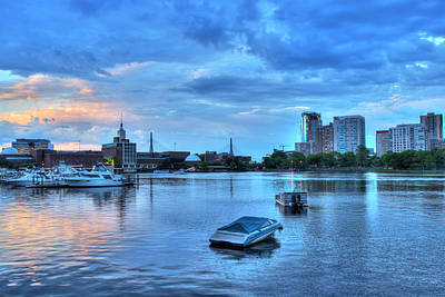Sunset Over The Charles River And The Museum Of Science - Boston Poster by Joann Vitali