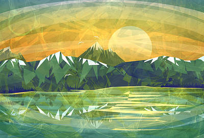 Sunset Over The Mountain  Poster by Anita Mihalyi