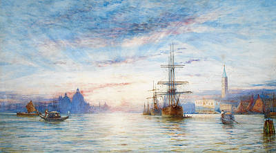 Sunset Over The Venetian Lagoon Poster by Thomas Hale Sanders