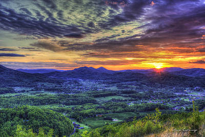 Sunset Over Wears Valley Tennessee Mountain Art Poster by Reid Callaway