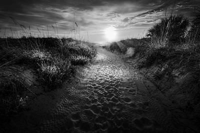 Sunset Path - Bw Poster by Marvin Spates