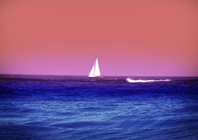 Sunset Sailboat Poster by Bill Cannon