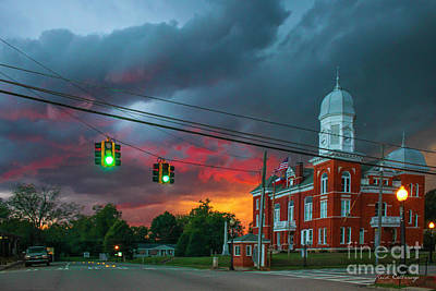 Sunset Storm Taliaferro County Court House Poster by Reid Callaway
