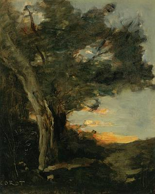 Sunset With A Lioness Poster by Jean-Baptiste Camille Corot