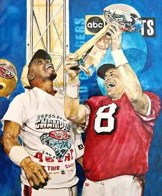 Forty Poster featuring the painting Super Bowl Legends by Lance Gebhardt
