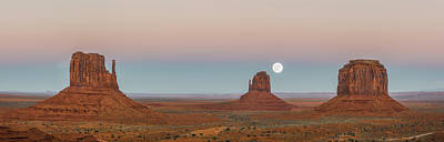Super Moon In Monument Valley Poster by Jon Glaser