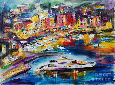 Evening In Portofino Italy Super Yacht Travel Poster by Ginette Callaway