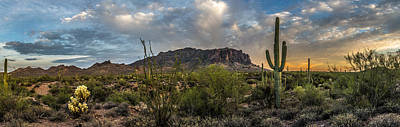 Superstition Sunset Panoramic Poster by Chuck Brown