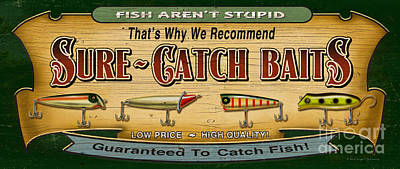Sure Catch Baits Sign Poster by Jon Q Wright