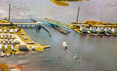 Topsail Poster featuring the photograph Surf City Swing Bridge by Betsy C Knapp