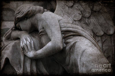 Angel In Mourning At Grave - Surreal Beautiful Angel Weeping Cemetery Art Poster by Kathy Fornal