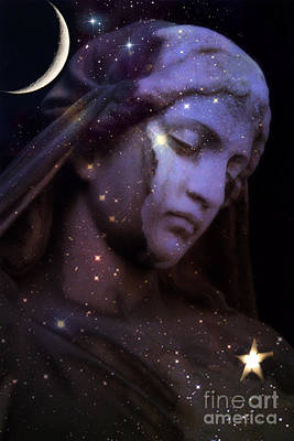 Surreal Celestial Angelic Face With Stars And Moon - Purple Moon Celestial Angel  Poster by Kathy Fornal