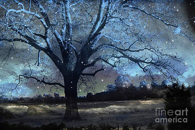 Surreal Fantasy Fairytale Blue Starry Trees Landscape - Fantasy Nature Trees With Stars Poster by Kathy Fornal