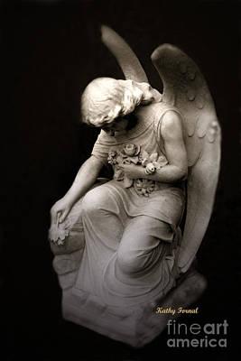 Surreal Sad Angel Kneeling In Prayer Poster by Kathy Fornal