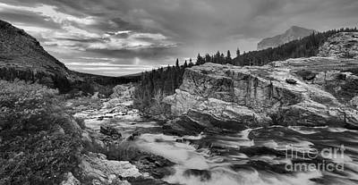 Swiftcurrent Falls Black And White Sunrise Panorama Poster by Adam Jewell