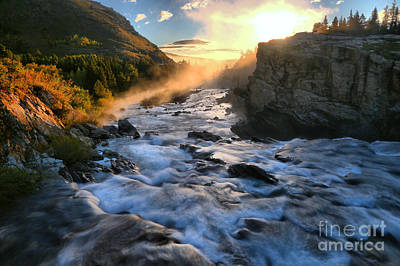 Swiftcurrent Falls Fiery Sunrise Poster by Adam Jewell