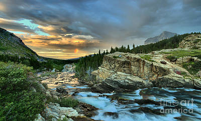 Swiftcurrent Falls Sunrise Poster by Adam Jewell