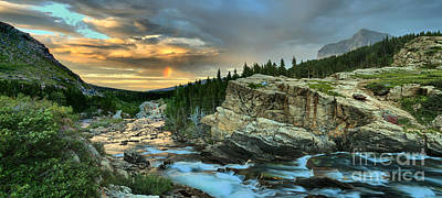Swiftcurrent Falls Sunrise Panorama Poster by Adam Jewell