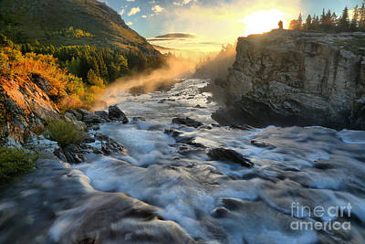 Swiftcurrent Foggy Sunrise Poster by Adam Jewell