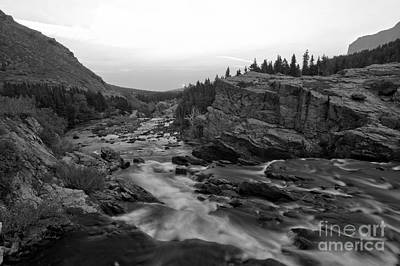 Swiftcurrent Sunrise Black And White Poster by Adam Jewell