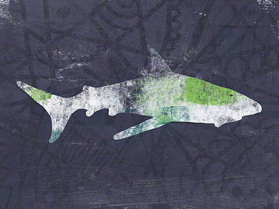 Swimming With Sharks 3- Art By Linda Woods Poster by Linda Woods