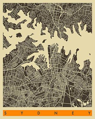 Sydney City Map 2 Poster by Jazzberry Blue