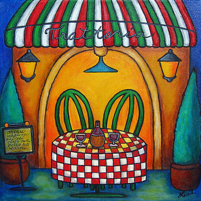 Table For Two At The Trattoria Poster by Lisa  Lorenz