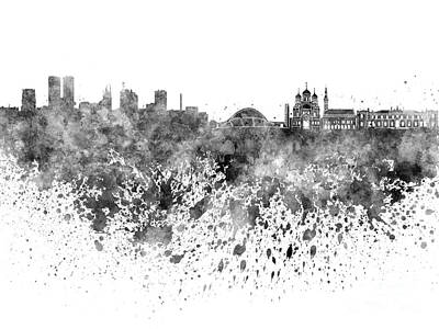 Tallinn Skyline In Black Watercolor On White Background Poster by Pablo Romero