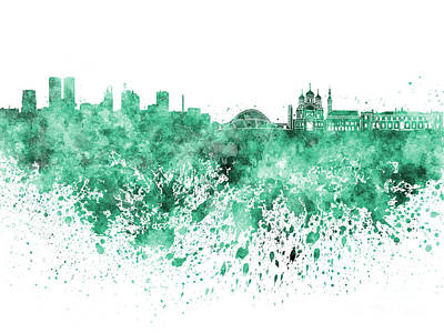 Tallinn Skyline In Green Watercolor On White Background Poster by Pablo Romero