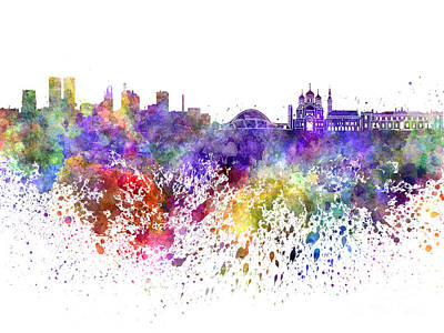 Tallinn Skyline In Watercolor On White Background Poster by Pablo Romero