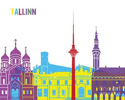 Tallinn Skyline Pop Poster by Pablo Romero