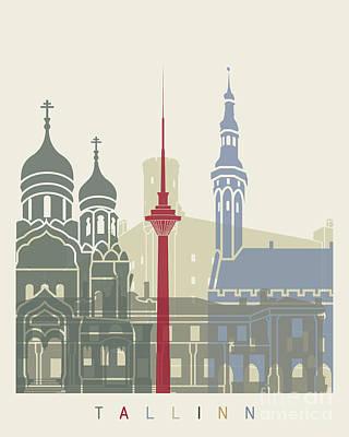 Tallinn Skyline Poster Poster by Pablo Romero